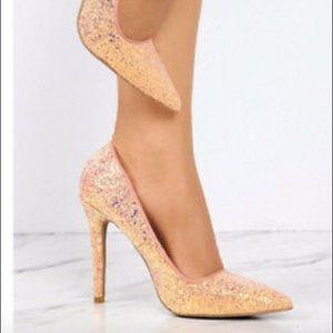 Qupid pink  Glitter heels 7 1/2